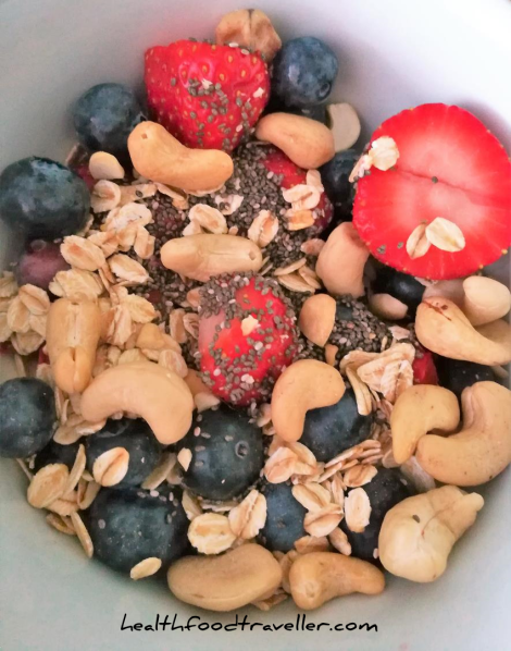 Add chia seeds, oats, nuts and seeds to your fruit to boost your protein intake!