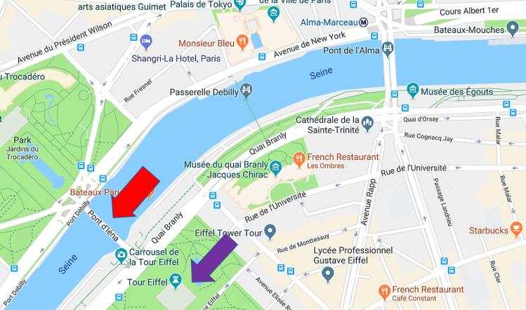 Map of Paris Eiffel Tower
