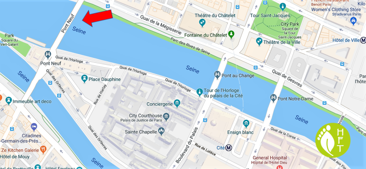 Map of Paris Pont Neuf