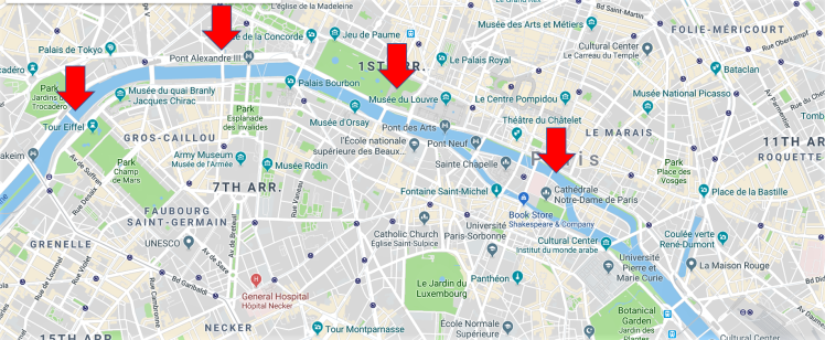 Map of Paris showing seine and major sightseeing spots