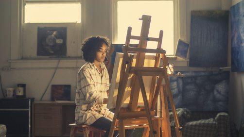 Artist on chair